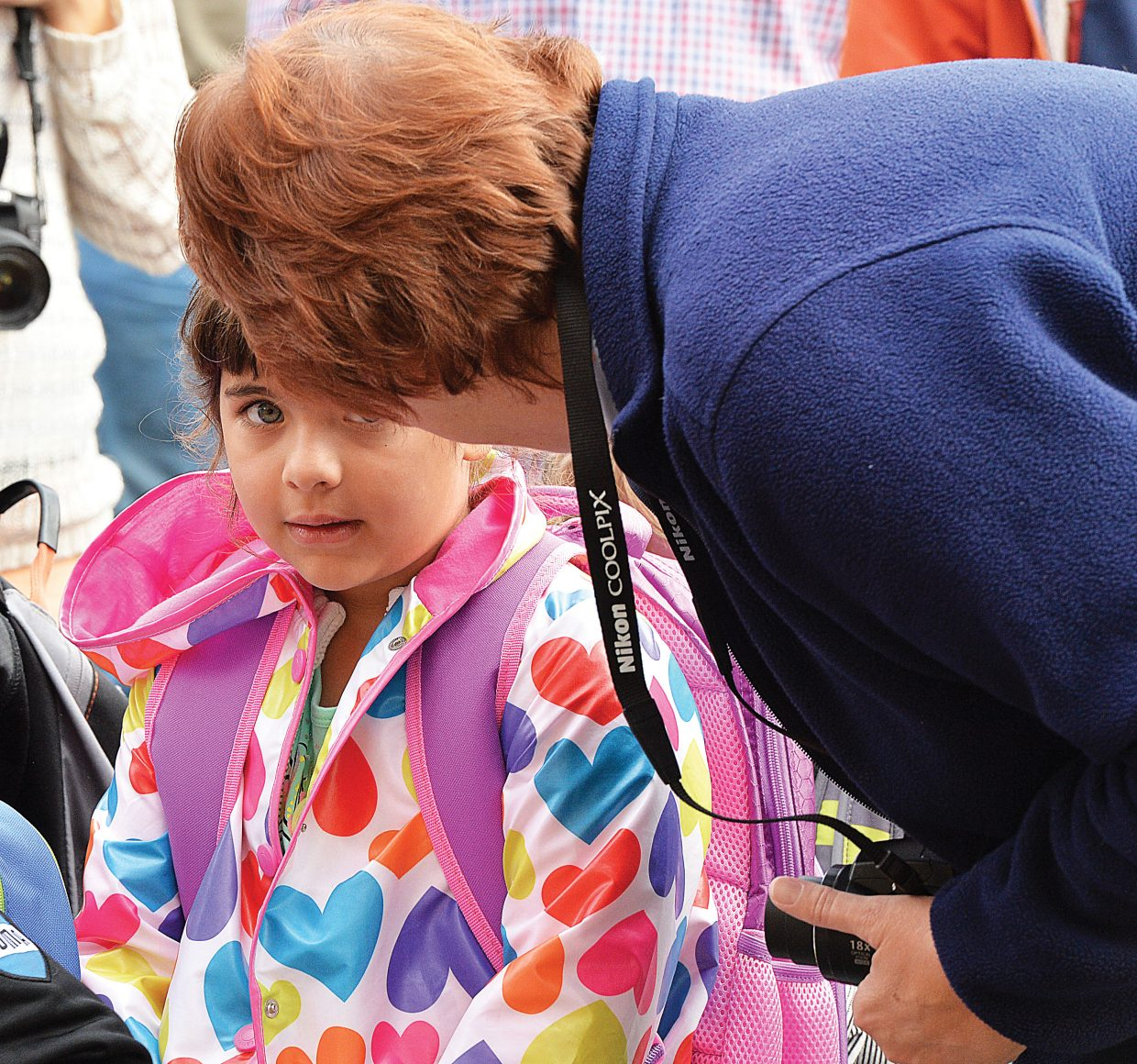 Kindergartner Kaylee Scott says goodbye to her grandmother at Soda Creek Elementary School on Wednesday morning. Wednesday marked the first day of school for kindergartners in Steamboat Springs.