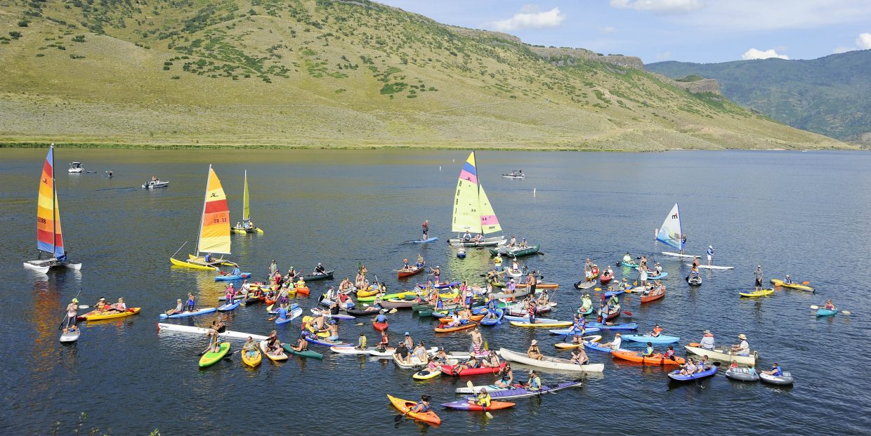 Boaters pack the waters at Stagecoach State Park on Saturday during the End of Summer Stagecoach Fun Fest. The Friends of Stagecoach group organized the event and wanted to establish the record for the most non-motorized boats on the water at a Colorado State Park.