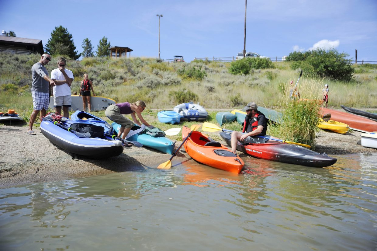 Boaters put in at Stagecoach Lake State Park on Saturday.