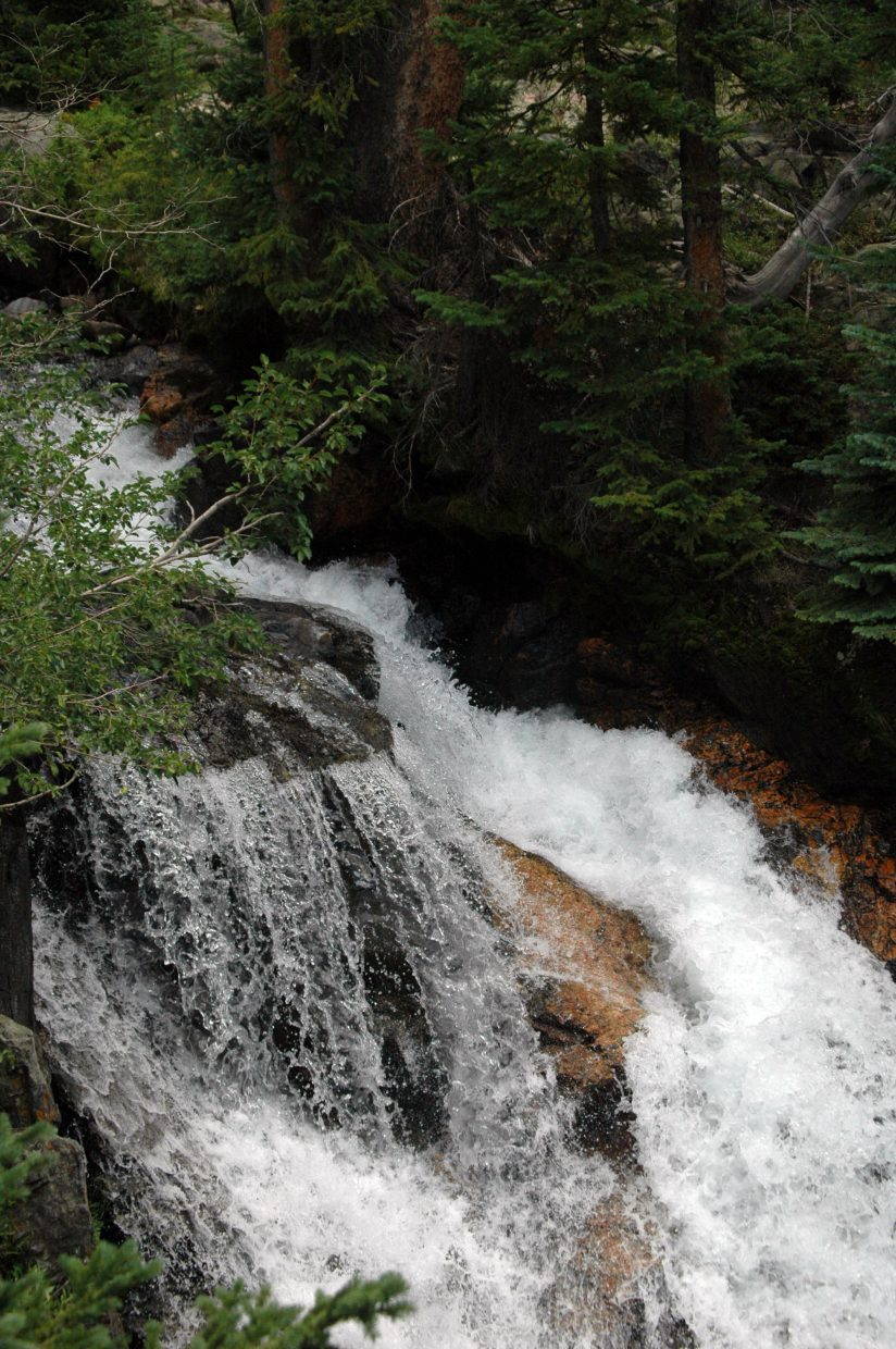 A few waterfalls were available for viewing along the way to Gold Creek Lake in the Mount Zirkel Wilderness Area.
