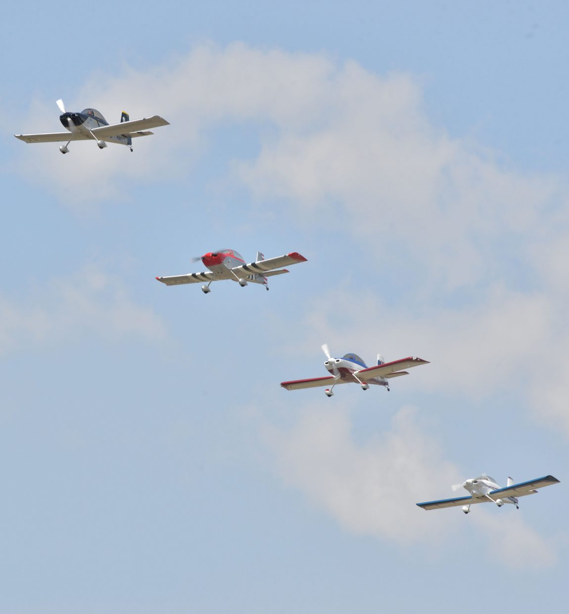 The Rocky Mountain Renegades fly in formation high above the Steamboat Springs Airport on Friday morning while practicing for this week's air show, which will be a part of the annual Wild West Air Fest.