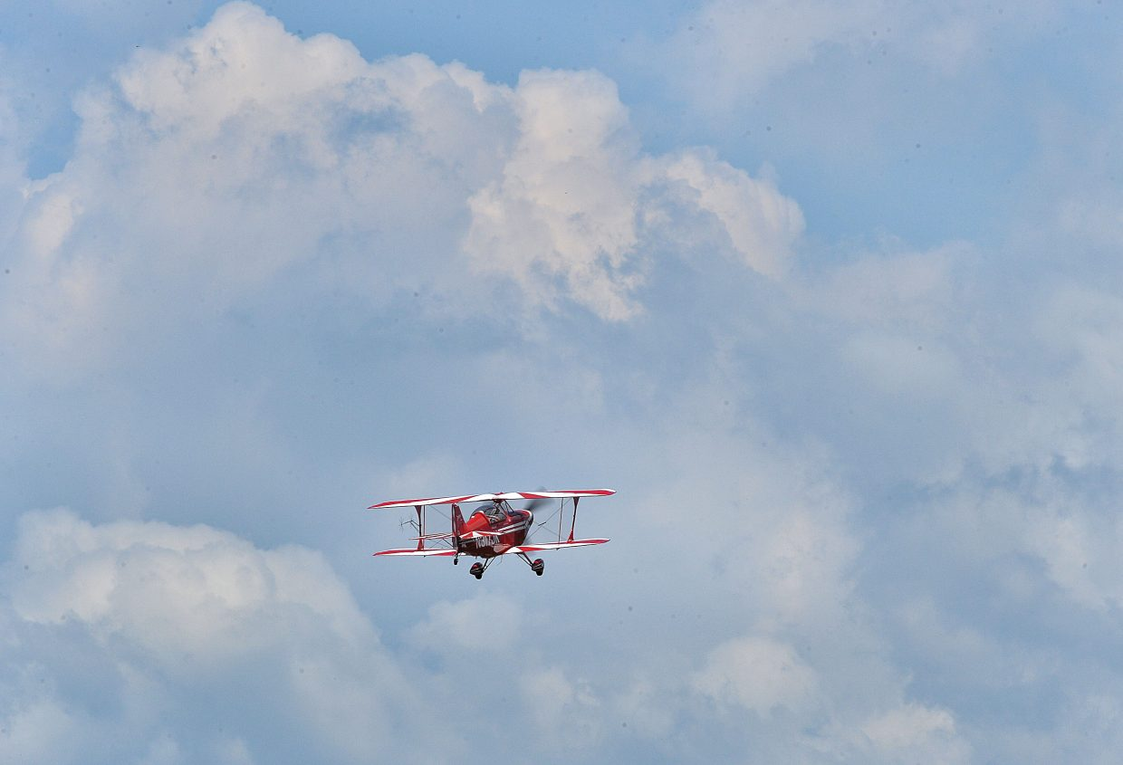 Aerobatic pilot Dagmar Kress takes off from the Steamboat Springs Airport on Friday morning to practice for this weekend's air show at the Wild West Air Fest.