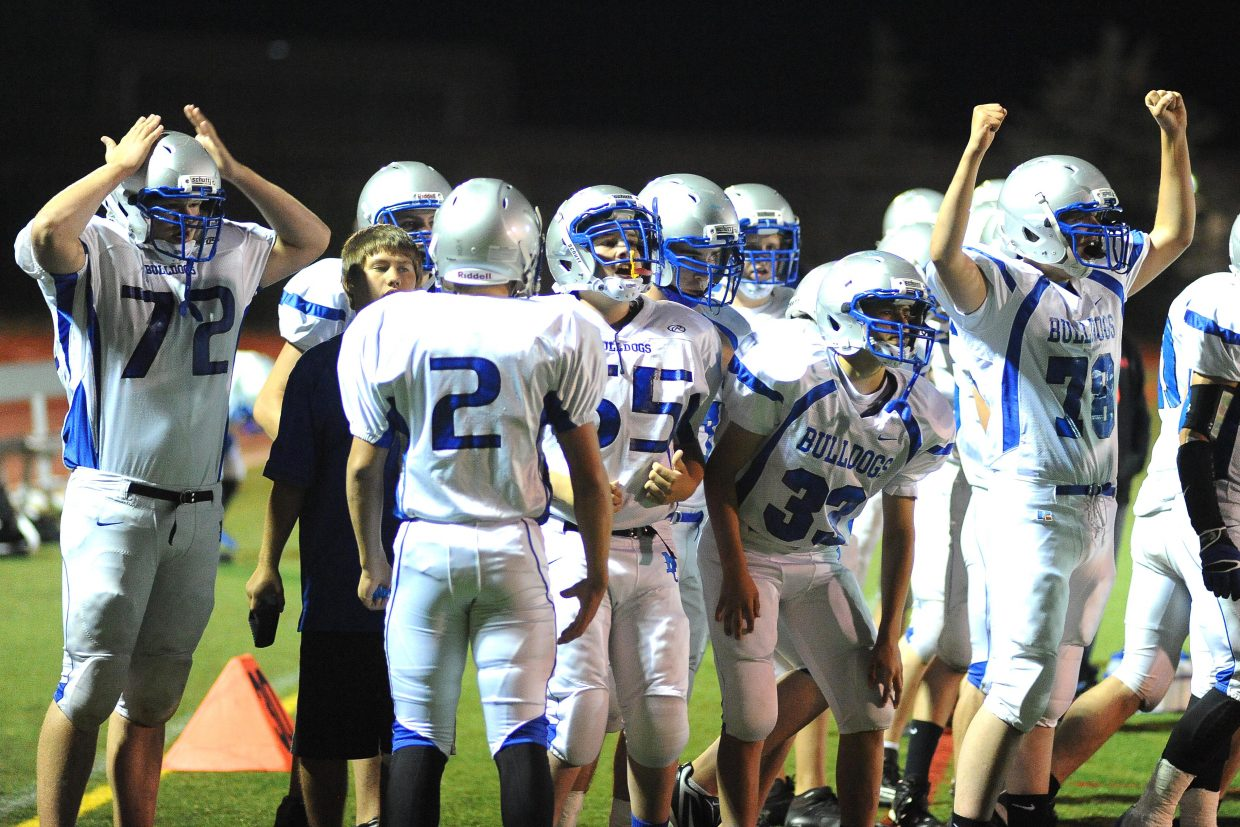 The Moffat County sideline shows mixed emotions Friday after scoring a touchdown only to see it called back on a penalty.