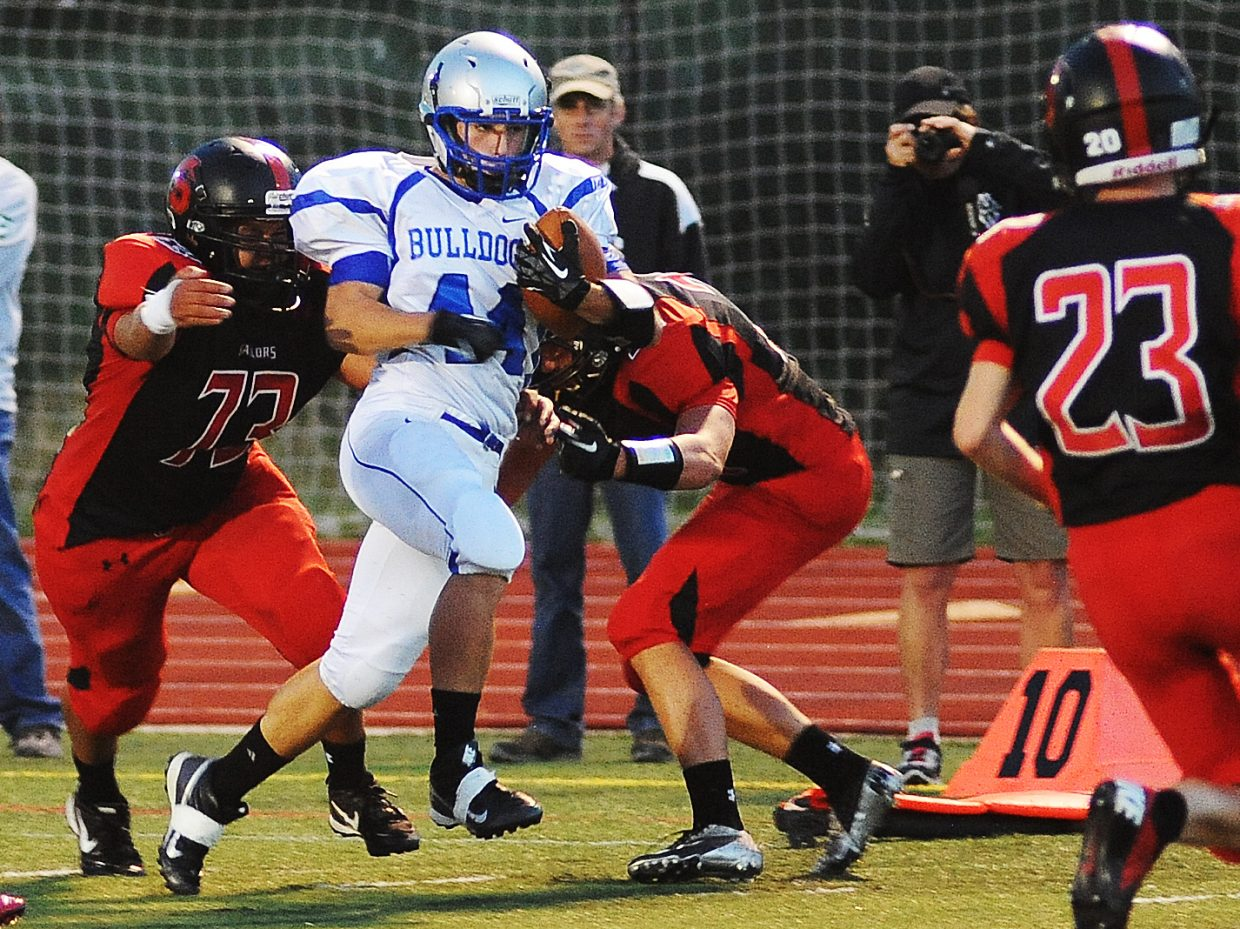 Moffat County advances the ball Friday against Steamboat Springs.