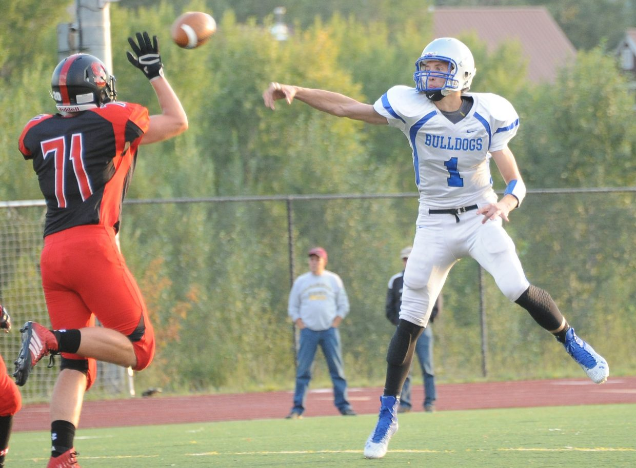 Moffat County's Matt Hamilton lets go of a pass Friday against Steamboat Springs.