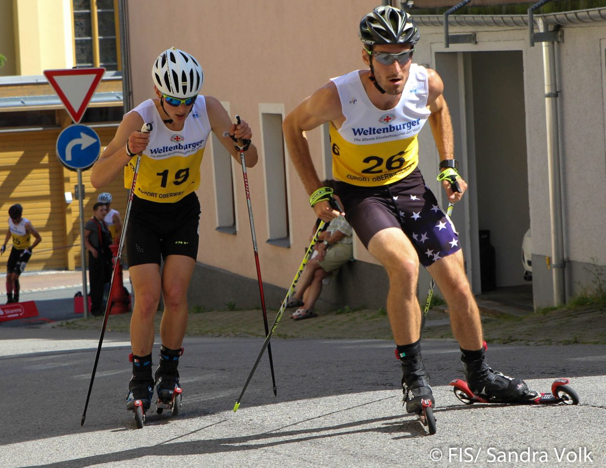 Taylor Fletcher, of Steamboat Springs and the U.S. Nordic Combined team, foreground, posted the fasted raw time in the roller ski phase of a summer Grand Prix event in Oberwiesenthal, Germany, on Aug. 28, leading to an overall seventh-place finish based on his time penalty after the ski jumping competition.