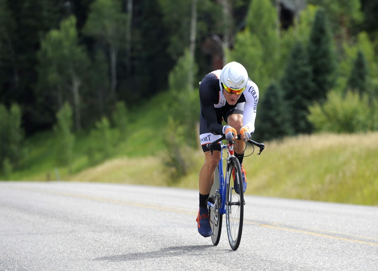 Steamboat Springs cyclist Taylor Fletcher competes in the 22-kilometer Aspire Time Trial on Saturday, which finished on River Road. The three-day Steamboat Stage Race continues Sunday with the Moots Road Race.