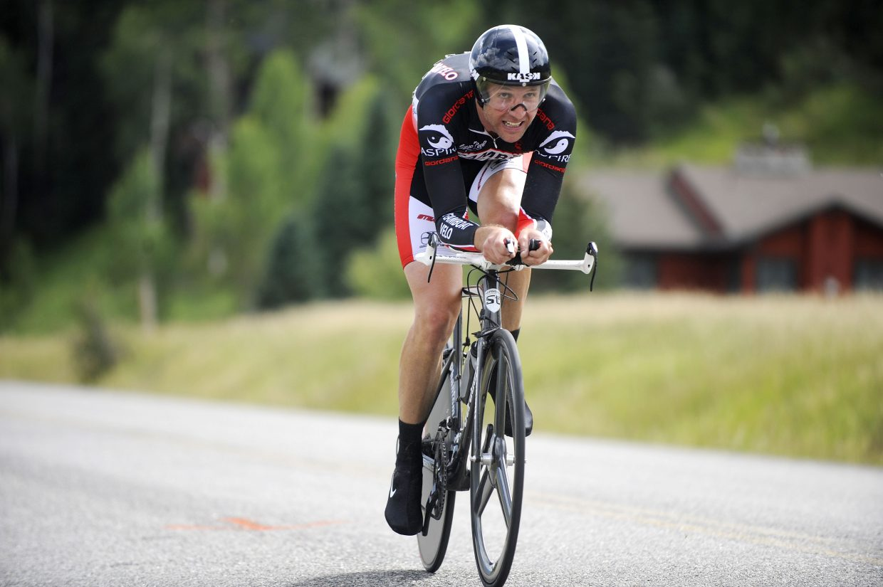 Steamboat Springs cyclist Matt Charity competes in the 22-kilometer Aspire Time Trial on Saturday, which finished on River Road. The three-day Steamboat Stage Race continues Sunday with the Moots Road Race.