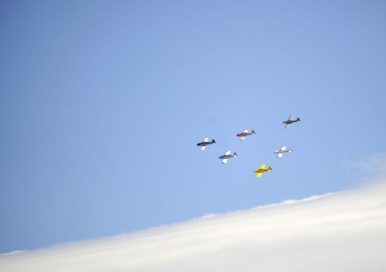 The Rocky Mountain Renegades fly in formation during the Wild West Air Fest.