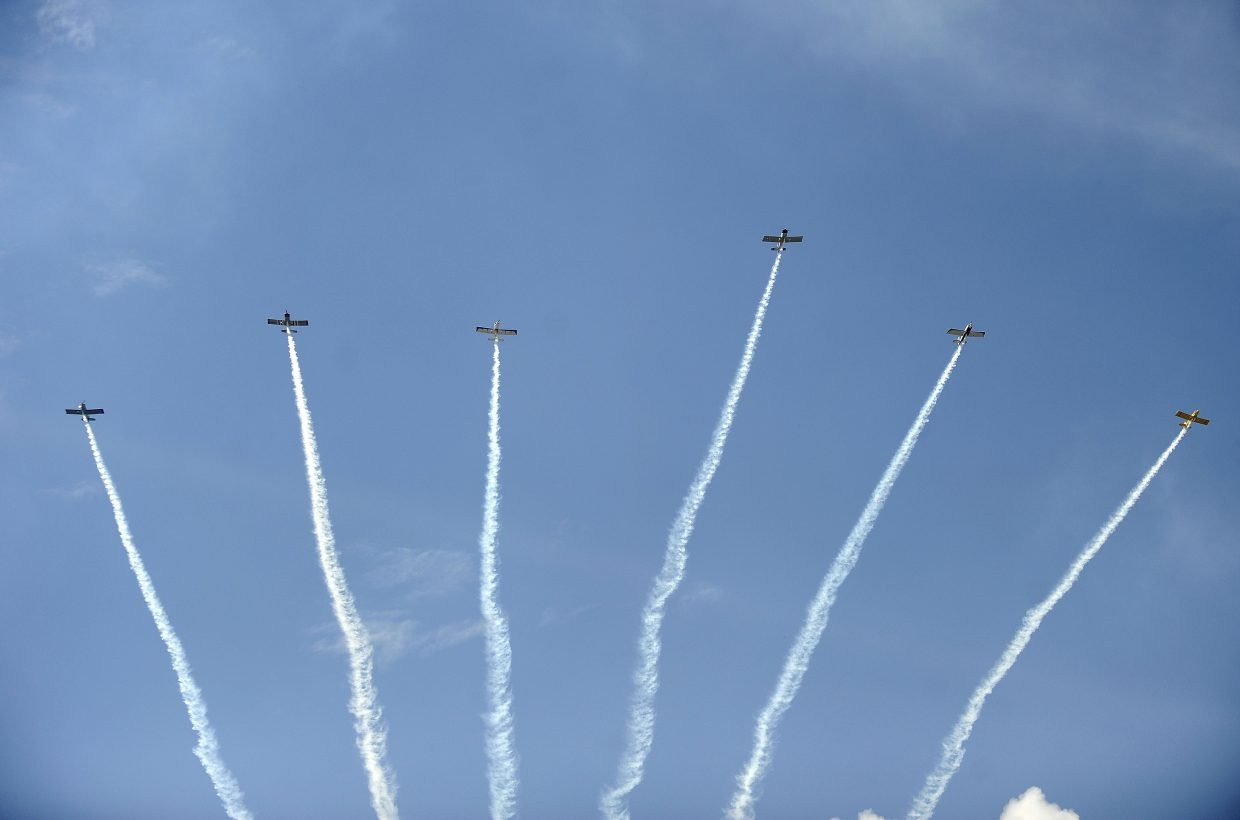 The Rocky Mountain Renegades fly over Steamboat Springs Airport during the Wild West Air Fest.