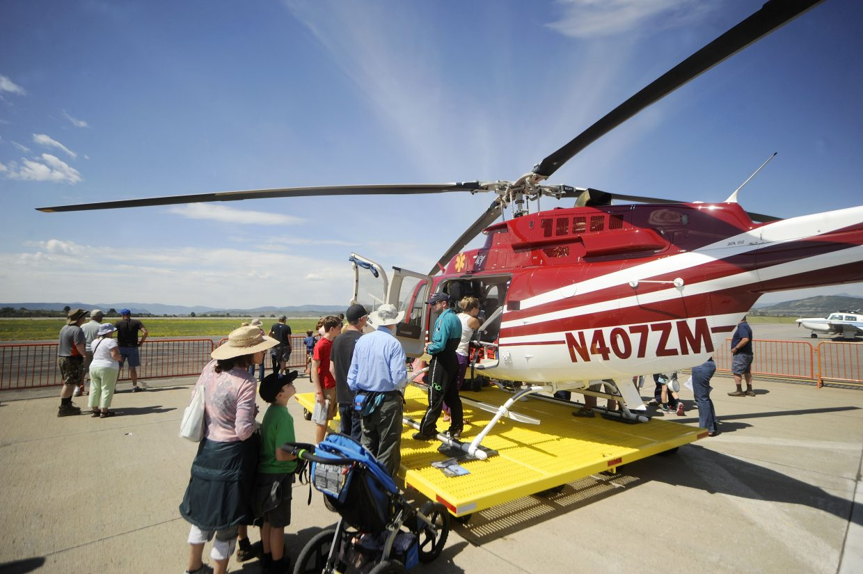 People check out the Classic Lifeguard helicopter last year during the Wild West Air Fest.