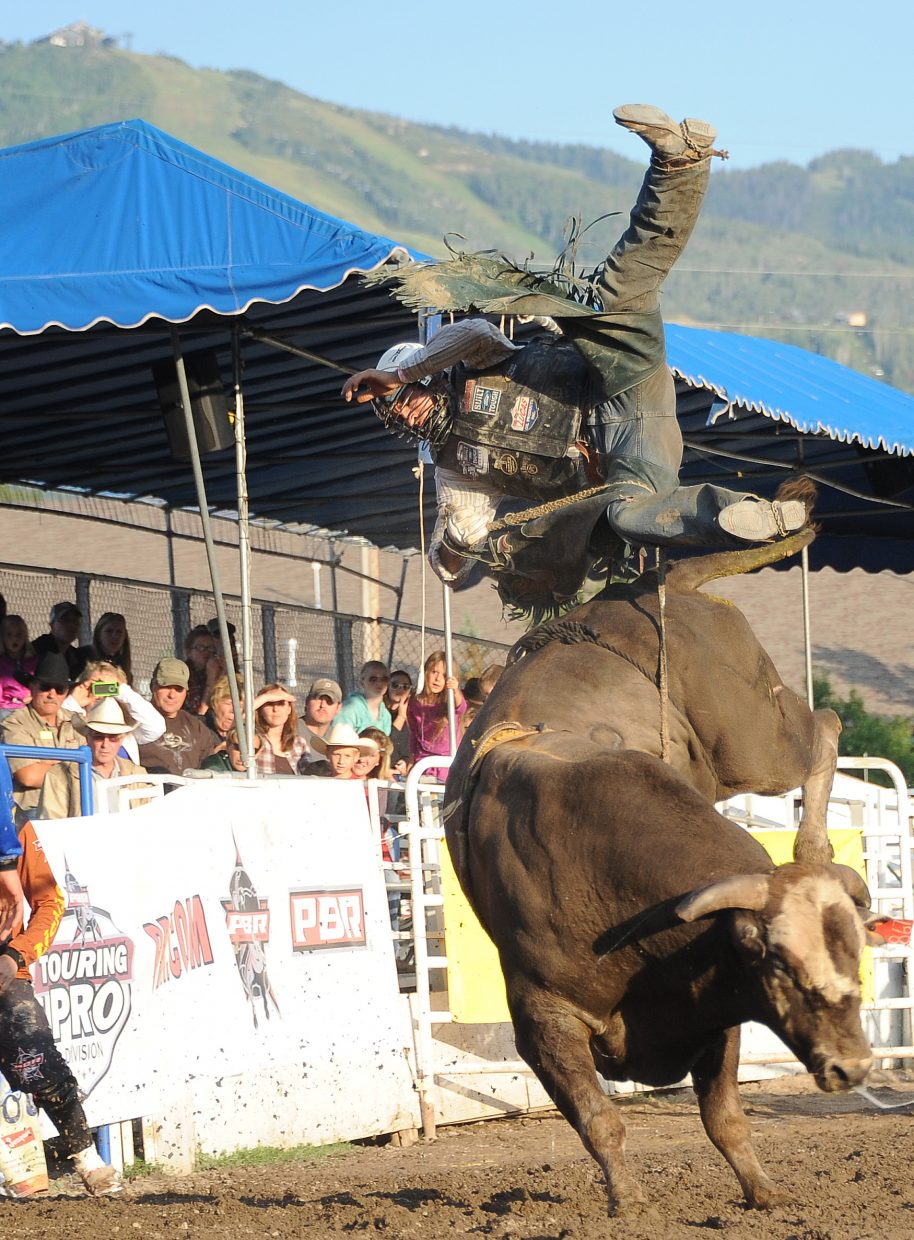 John Smith rides River Man Fighter on Sunday in Steamboat Springs.