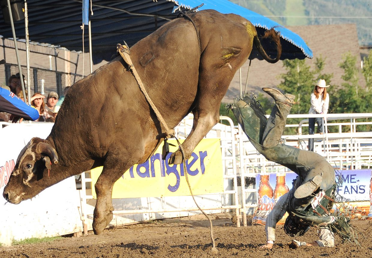 River Man Fighter leaps over John Smith on Sunday in Steamboat Springs.