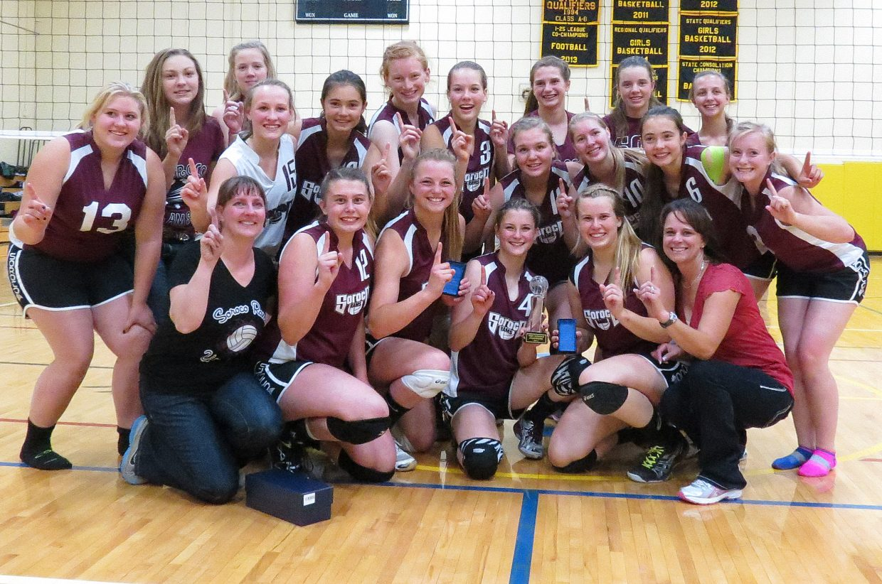 The Soroco High School girls volleyball team ran to a championship Friday in the six-team Gilpin County Tournament, winning all three matches. The Rams beat Nederland in three sets, Shining Mountain in two and Denver Waldorf in two, as well.