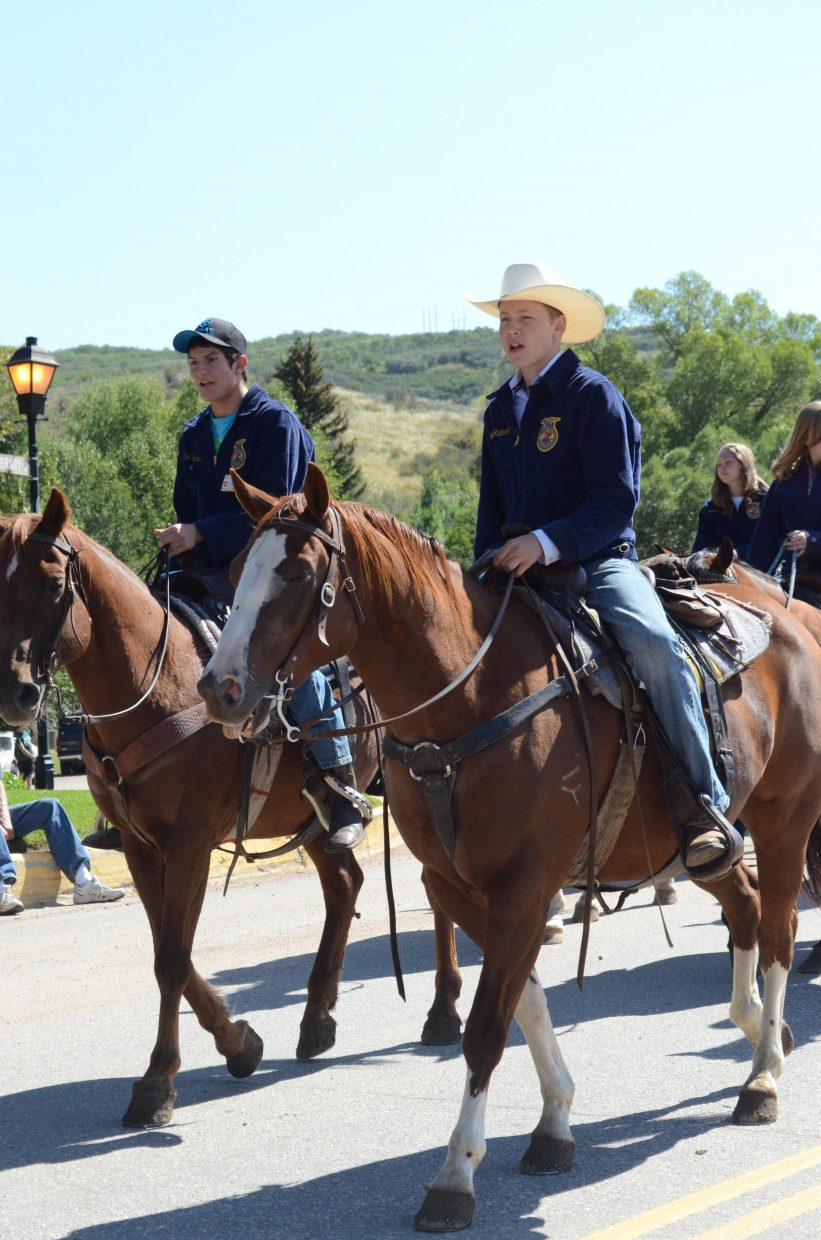 Members of the Soroco FFA Chapter rode horseback and walked on foot down Main Street during Oak Creek's Labor Day parade Monday.