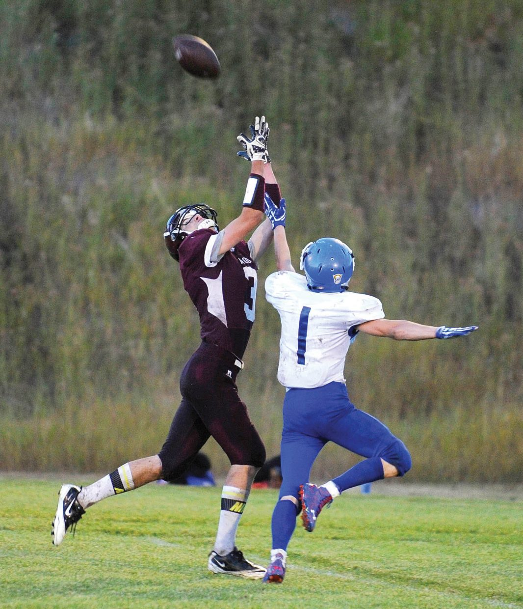 Soroco's Brendon Veilleux pulls in a pass during the Soroco Rams loss to Norwood earlier this season. The Rams have won the two games since the loss, and will be looking to improve the team's record again Friday when the squad faces Rangely in the school's homecoming game.