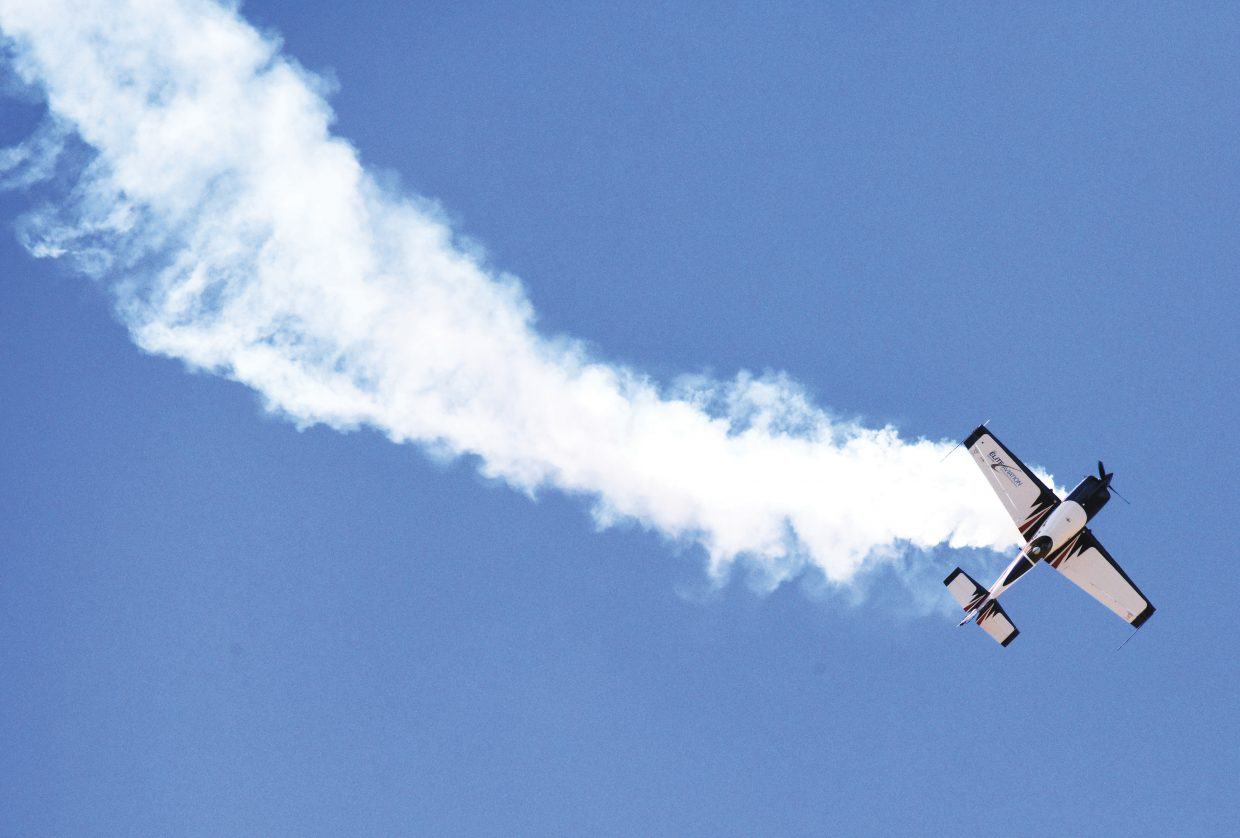Pilot Bob Freeman, of the Free Man Airshow, performs stunts Friday while practicing for this weekend's Wild West Air Fest, which will take place at Bob Adams Field, the Steamboat Springs city-owned airport. The show has been a part of Steamboats' Labor Day celebration for 12 years.