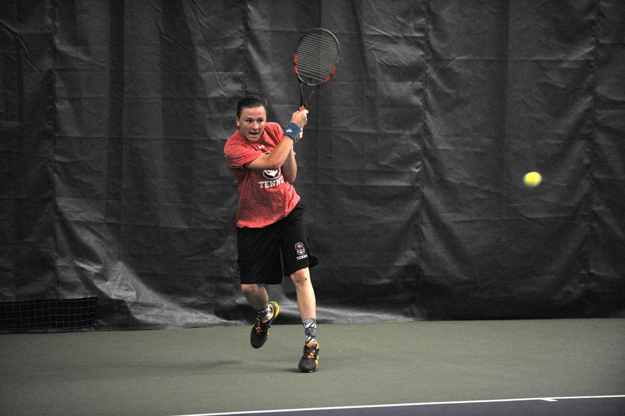Steamboat Springs High School senior Chase Adams competes against Silver Creek on Saturday at the Tennis Center at Steamboat Springs. Steamboat won the match with wins from three doubles teams and its No. 1 singles player.