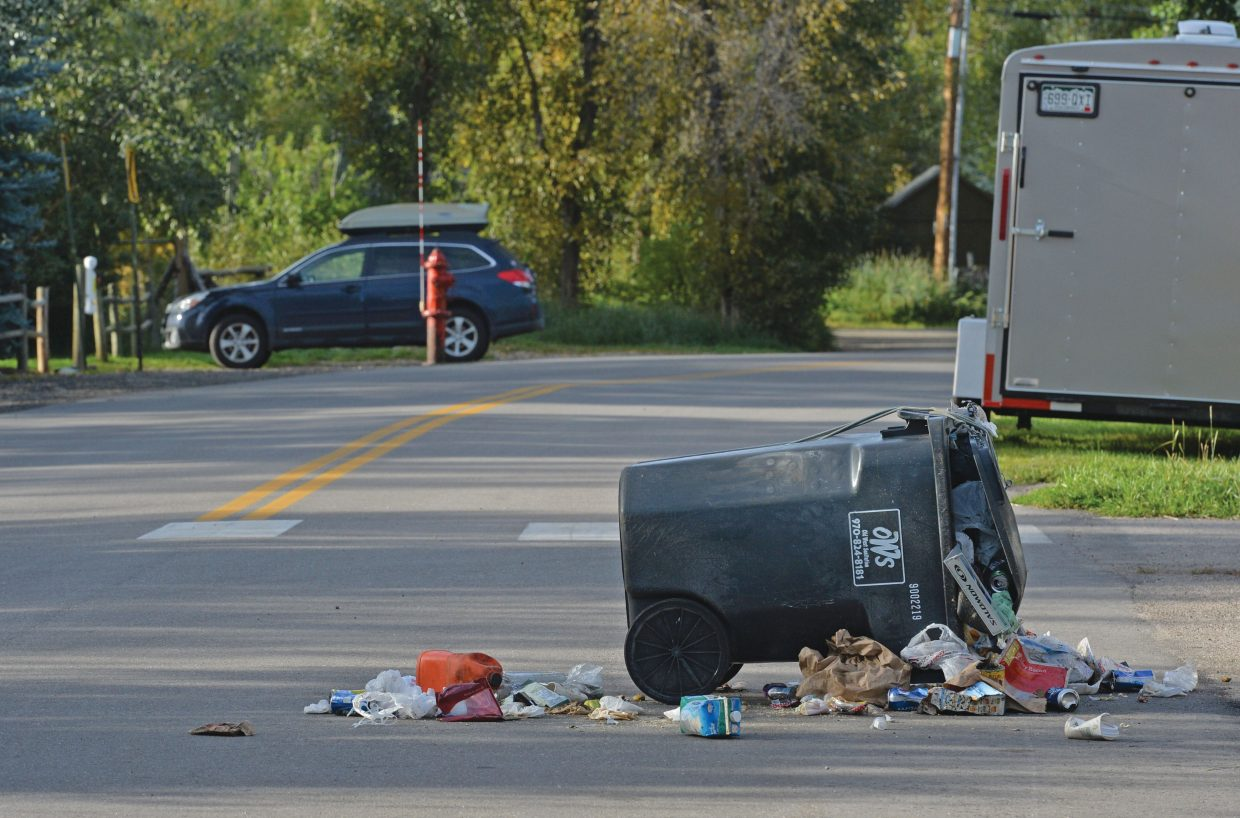 The lid on this trash container still is closed, but apparently a bear was able to get the trash out of this container on North Park Road in Steamboat Springs. City has begun aggressive review of its trash rules and is working on long-term solutions to deter bears from living in the city.