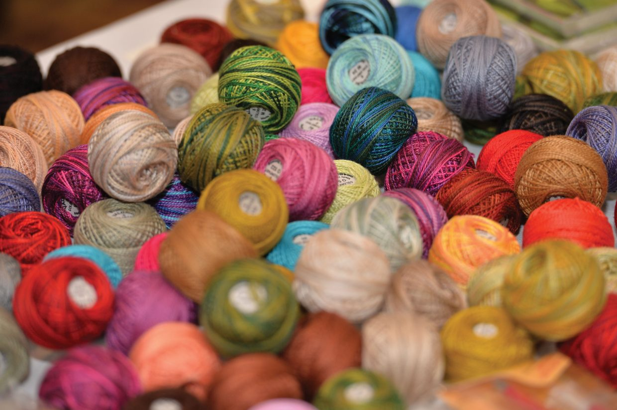 A colorful display of materials was on hand for the year's Rocky Mountain Quilting Adventure.