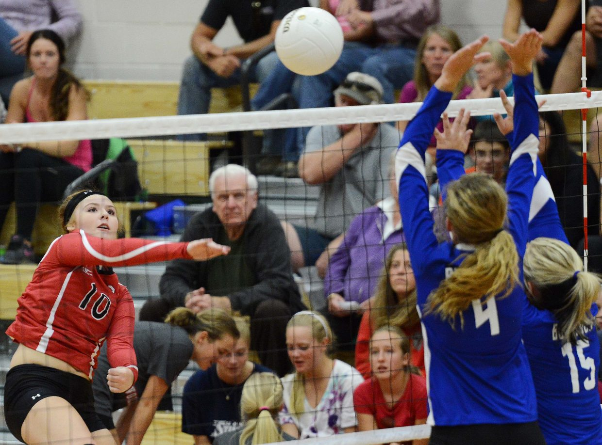 Steamboat's Hayley Johnson connects for a hit Thursday in a volleyball game against Moffat County.