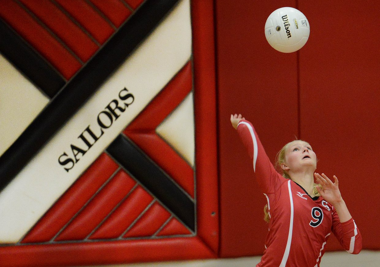 Abigail Wiedel serves the ball Thursday against Moffat County.