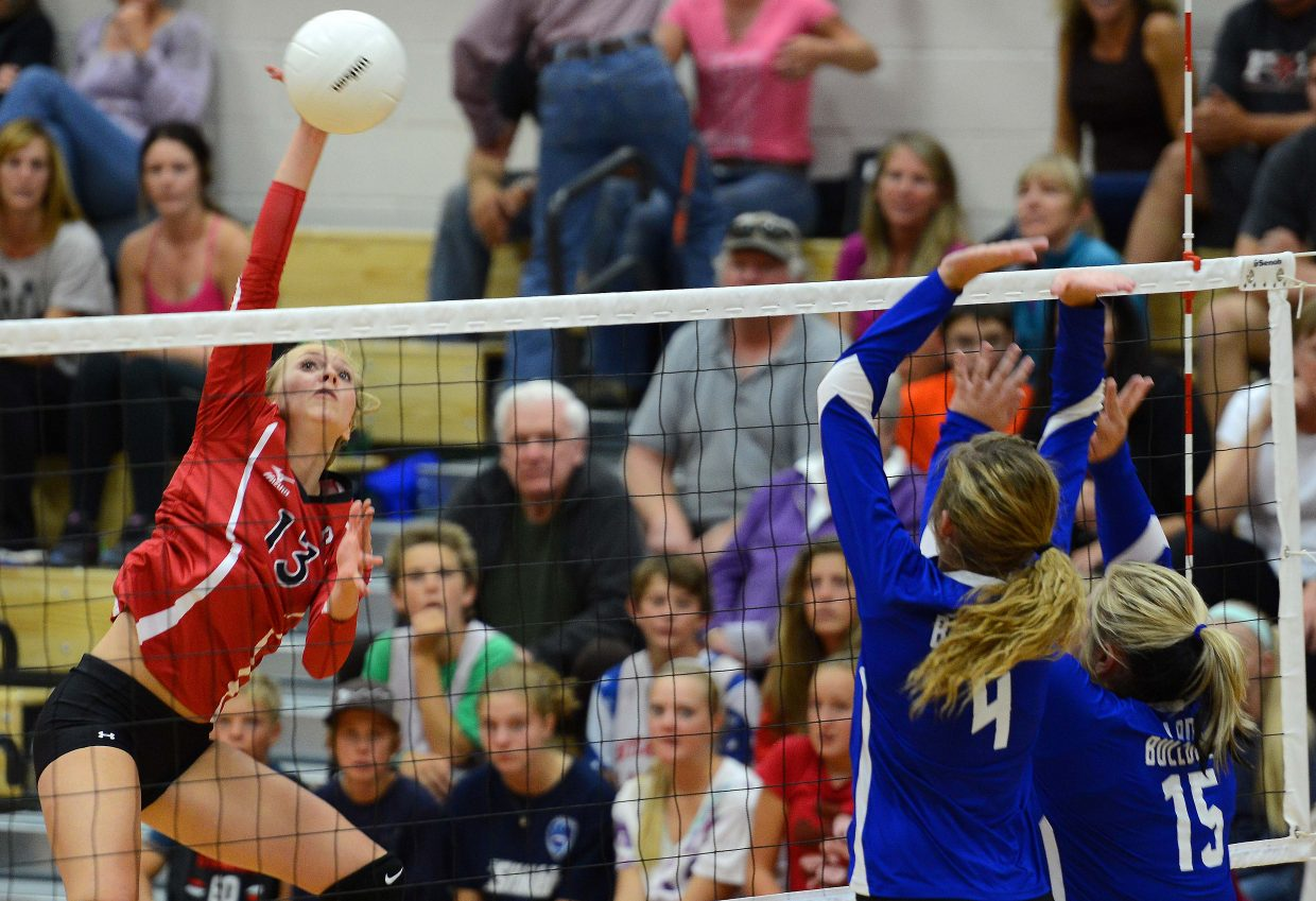 Steamboat's Erica Yaw hits the ball Thursday against Moffat County.