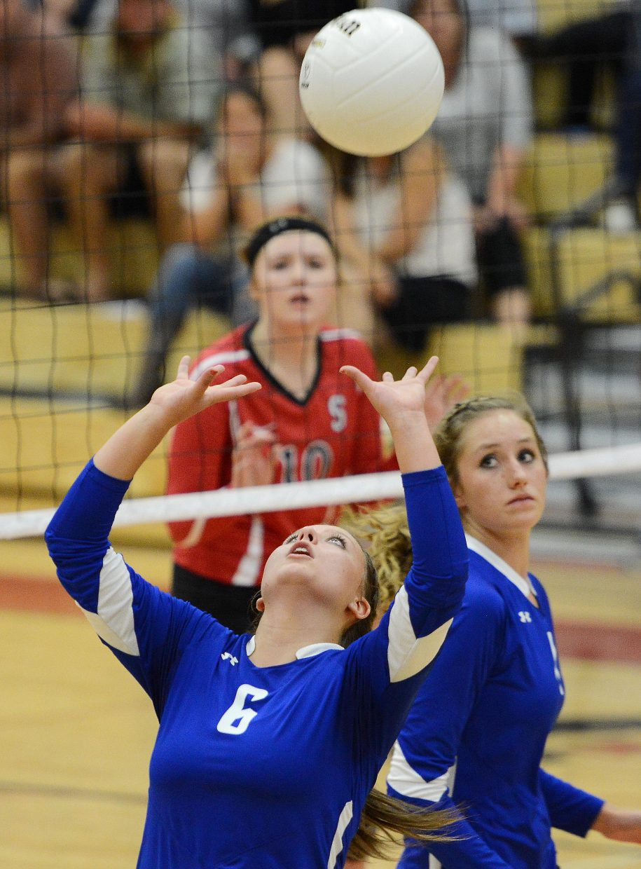 Moffat County's Tiawna Smercina sets the ball Thursday against Steamboat.