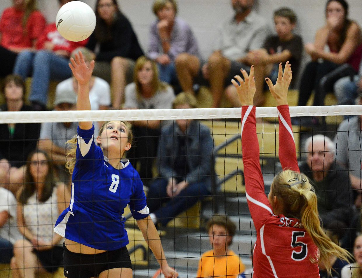 Moffat County's Britney Rothermund swings for a shot Thursday against Steamboat Springs.