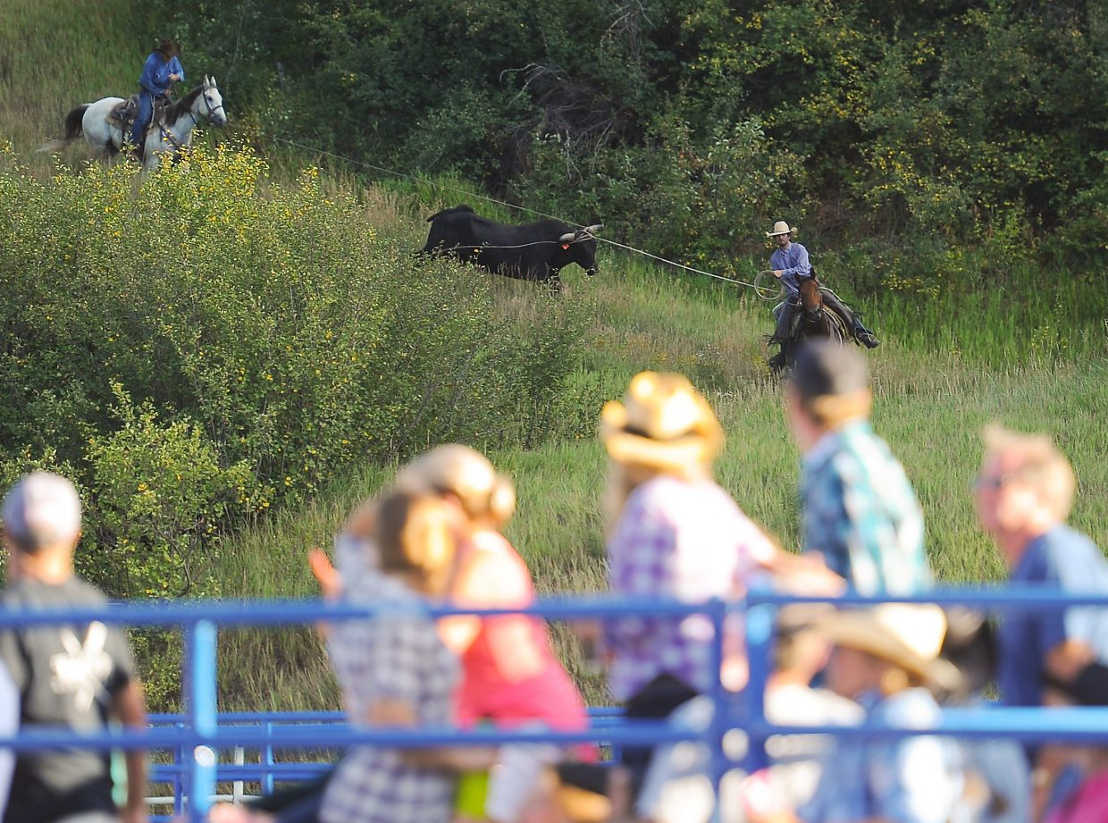 A pair of rodeo pickup men return to Romick Rodeo Arena with an escaped bull Sunday during the Rocky Mountain Bull Bash in Steamboat Springs. The animal leapt from a holding pen and took off up Emerald Mountain.