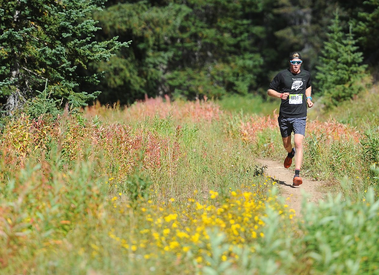 Nick Sweeney runs during the 10K at 10,000 on Sunday on Rabbit Ears Pass.