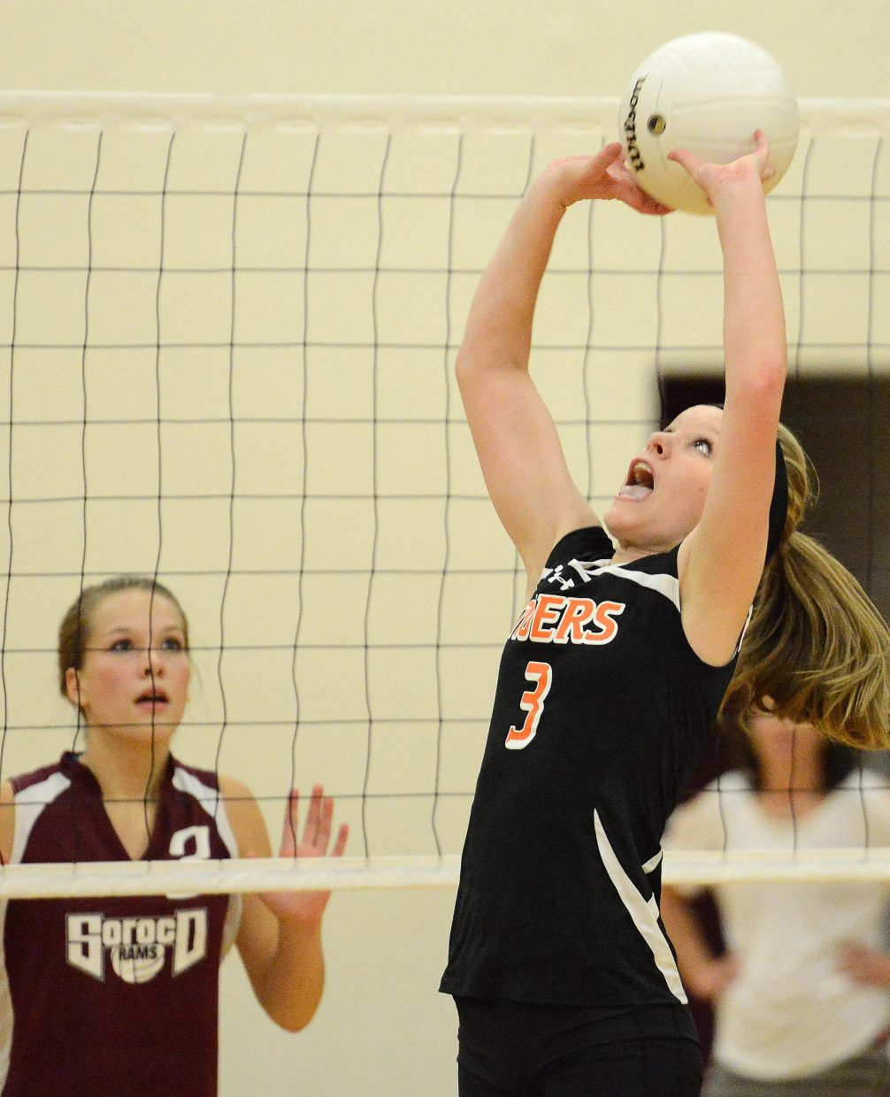 Hayden sophomore Grace Wilkie sets the ball Friday against Soroco.