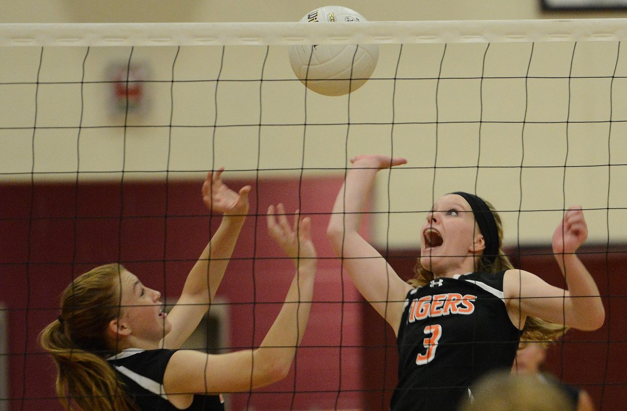 Hayden's Grace Wilkie reaches for the ball Friday against Soroco.