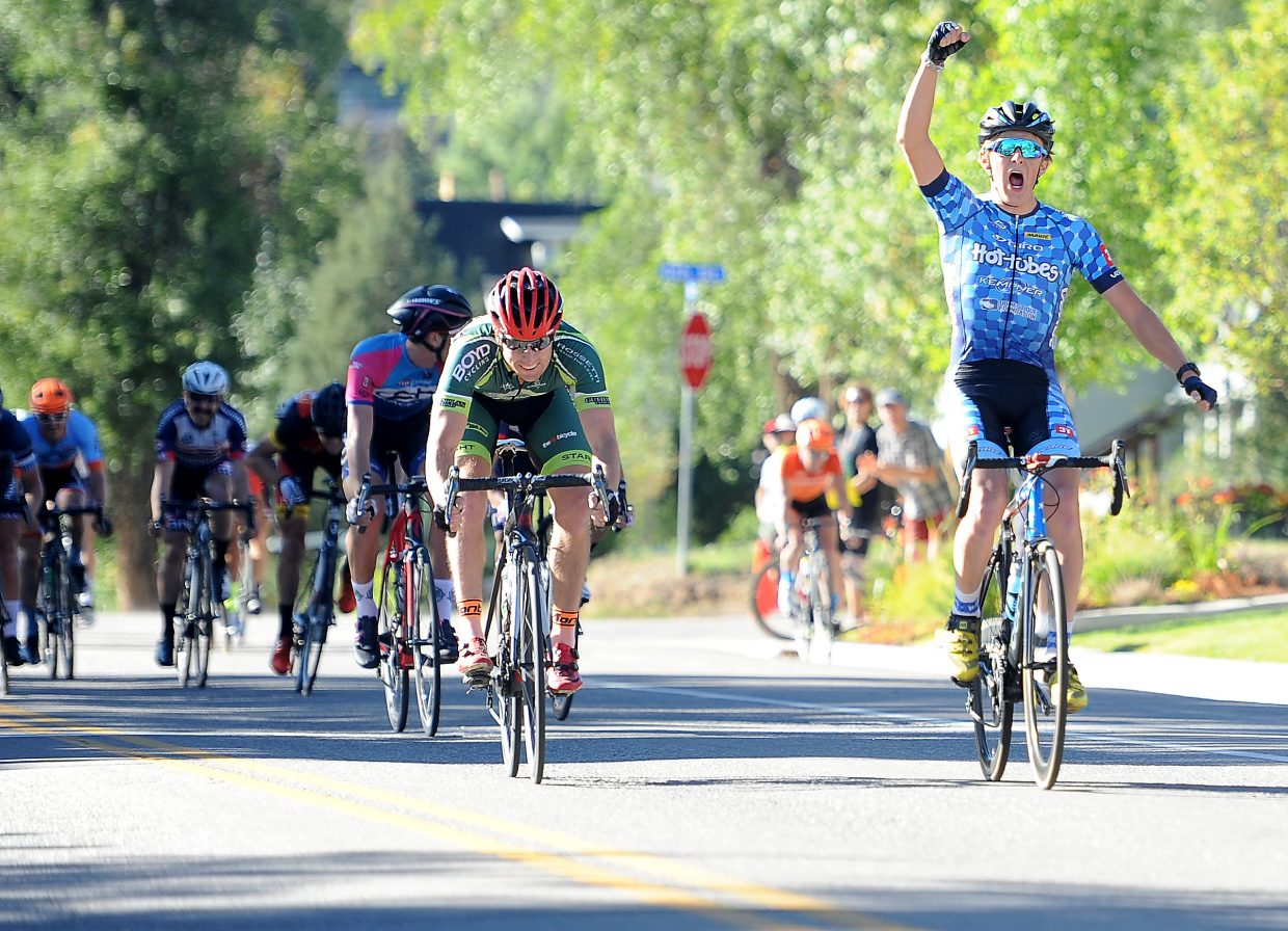 Gage Hecht pumps his fist after winning Stage 3 of the Steamboat Stage Race on Monday in Steamboat Springs. He also won the second stage, but couldn't overcome a first-stage deficit and finished third, overall.