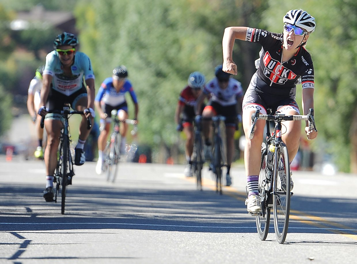 Jessica Bobeck celebrates after winning Stage 3 of the top women's division of the Steamboat Stage Race on Monday in Steamboat Springs.