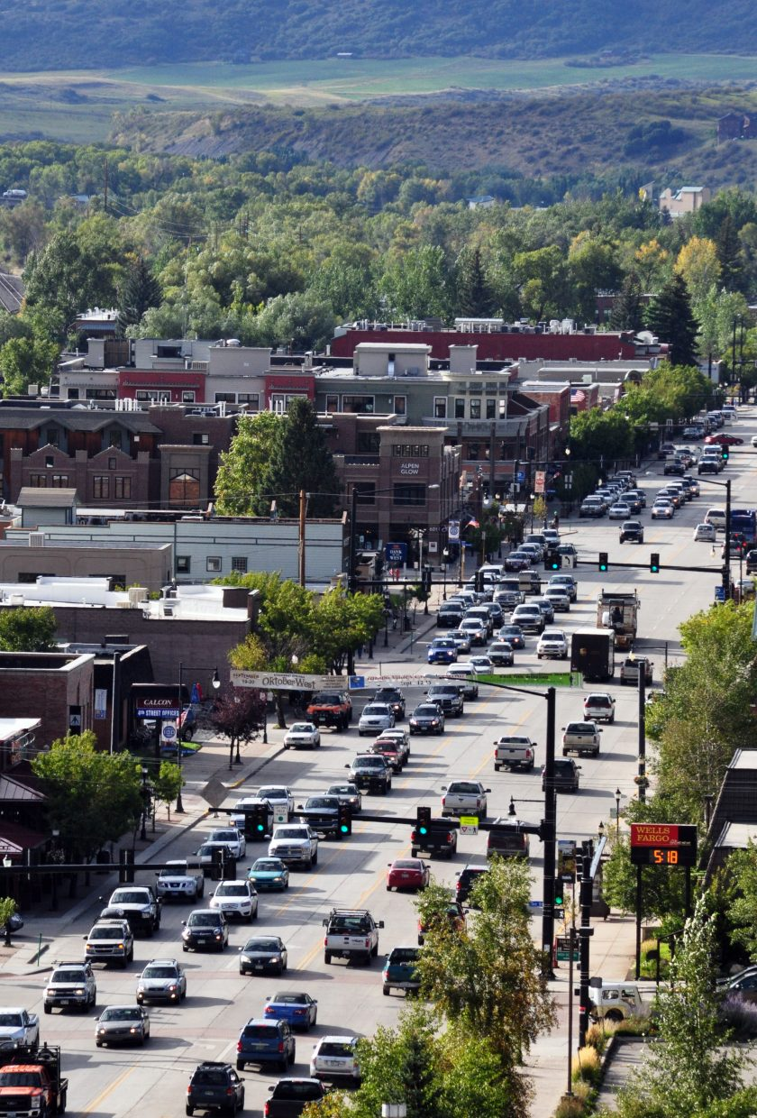Heavy traffic moves through downtown Steamboat Springs. Commercial property owners, landlords and tenants in November will decide whether to support an additional property tax that would net an estimated $190,000 for marketing and maintenance downtown.