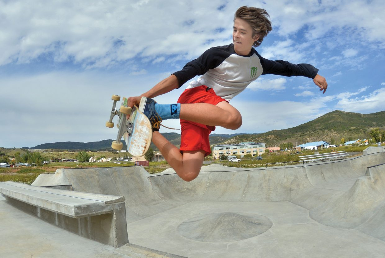 Skateboarder Billy Winters finds some air while riding at the Bear River Skate Park on Monday afternoon in Steamboat Springs.