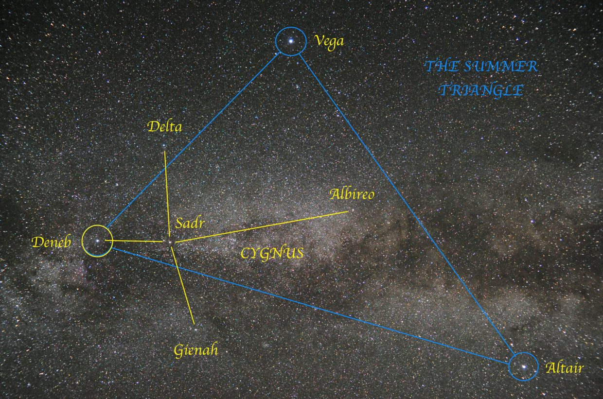 "Look straight up at about 9:30 p.m. this week to spot the three bright stars of the big Summer Triangle: Vega, Deneb and Altair. Deneb is the ""Alpha"" star in the familiar ""Northern Cross"" pattern, officially named Cygnus, the Swan. Cygnus lies right in the misty star clouds of the Milky Way."