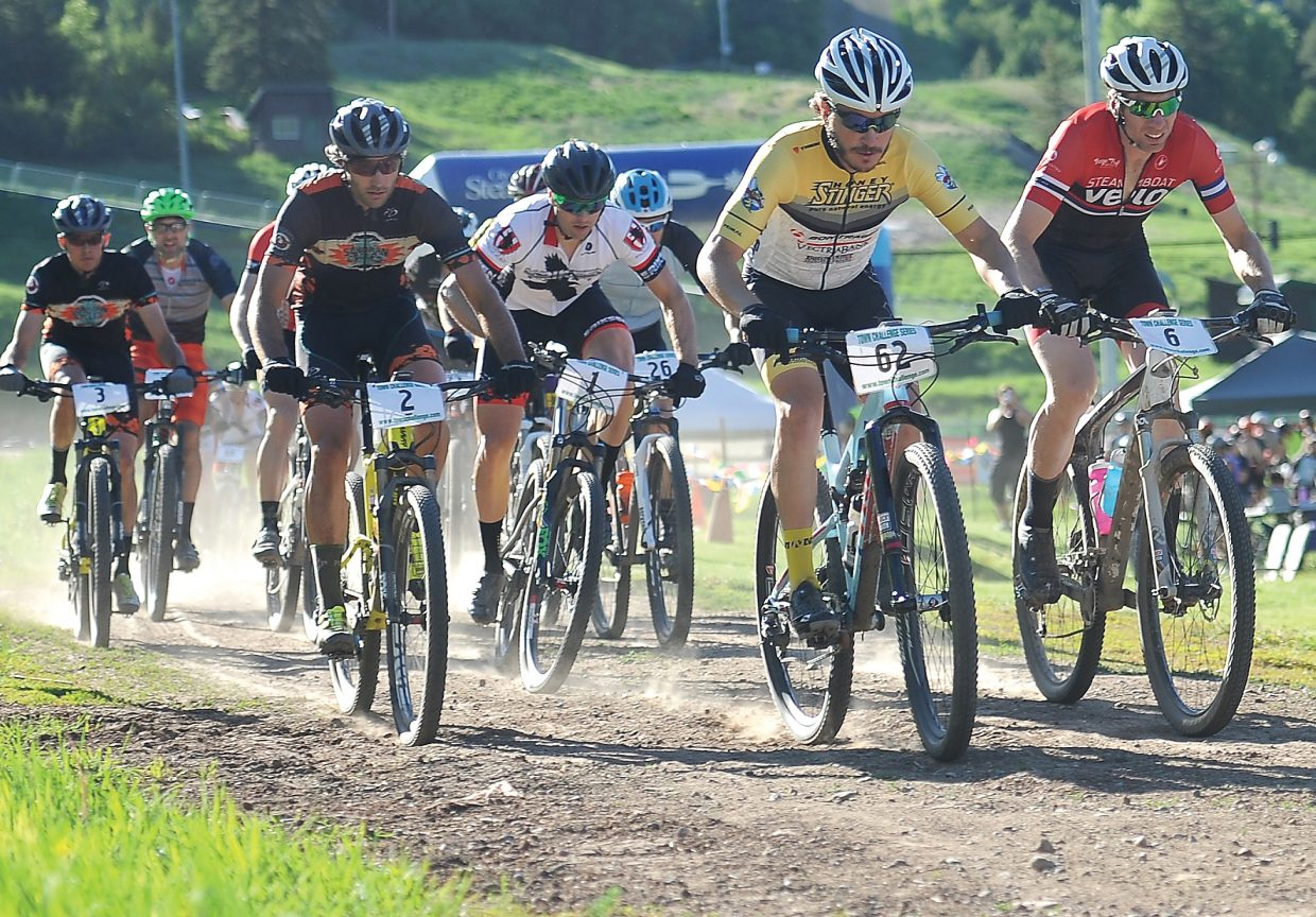 Racers leave the starting line of a Town Challenge Mountain Bike Race earlier this season.