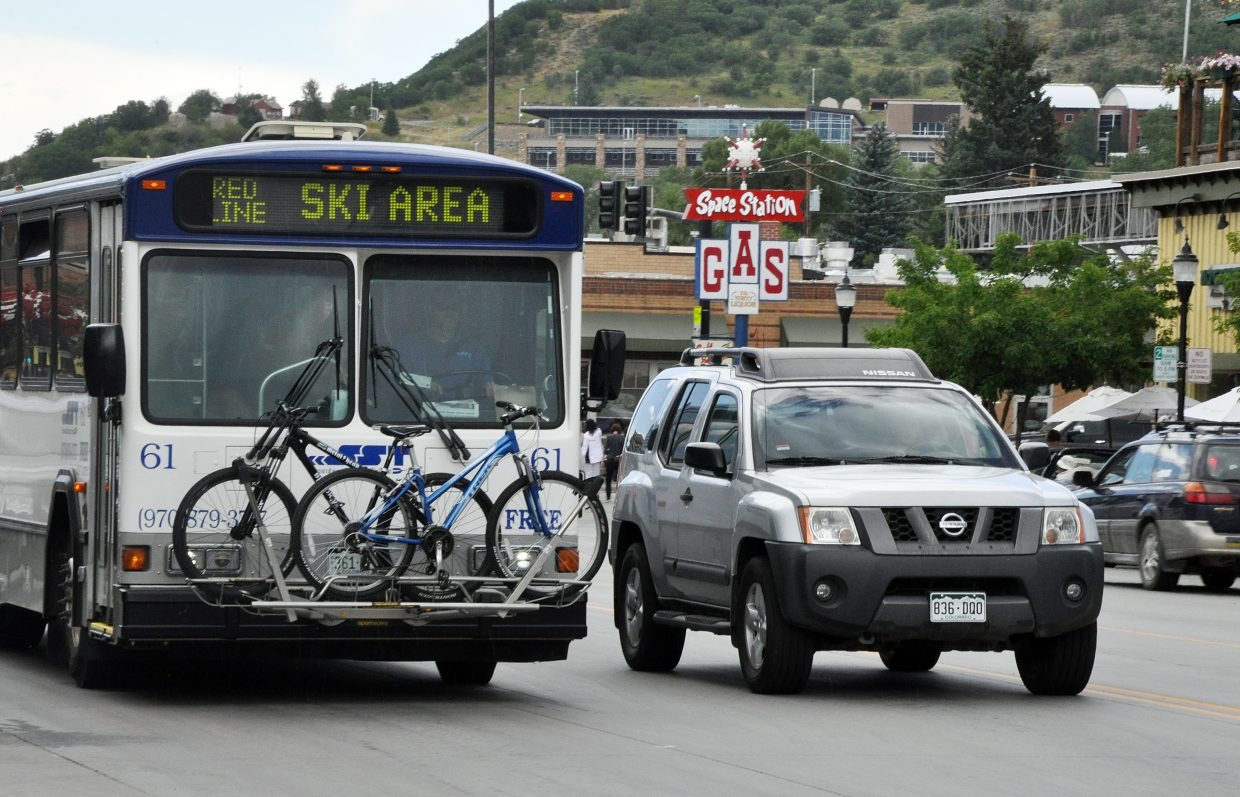 A Steamboat Springs Transit bus travels through downtown Steamboat Springs. A new dashboard on the city's website provides a range of data, including monthly bus ridership on SST.
