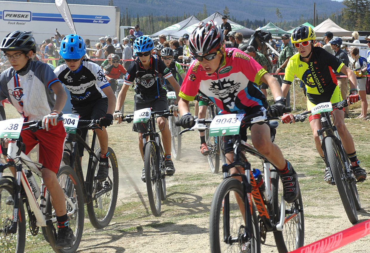 Sven Tate rides in the pack Sunday during the season's first high school mountain bike race at Snow Mountain Ranch in Granby.