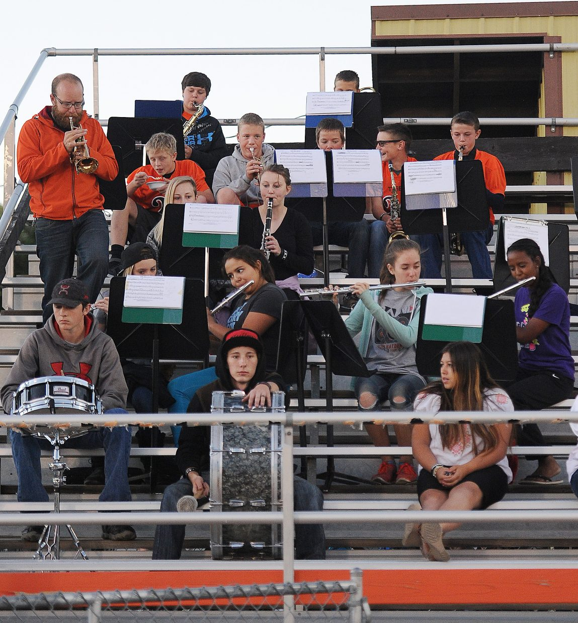 The Hayden High School band plays after a Tigers' touchdown Friday night.