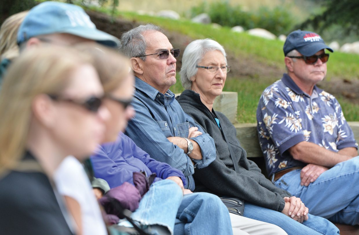 David Neff joined others who showed up at the Yampa River Botanic Park amphitheater Thursday evening to remember the events of Sept. 11, 2001. The ceremony marked the day terrorists attacked the United States, crashing passenger planes into the World Trade Center and the Pentagon. Terrorists also hijacked United Airlines Flight 93, which crashed in a field in Pennsylvania after passengers attempted to regain control of the plane in midflight. The crash killed all 44 people on board, including the four hijackers.