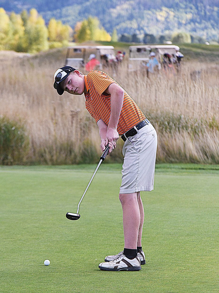 Steamboat Springs senior Nolan Sankey works on his putting Tuesday afternoon at the Haymaker Golf Course. Sankey will join Jacob Taulman, Jack Rotermund and Tommy Henninger at the regional golf tournament at the Adobe Creek Golf Course in Fruita Monday.