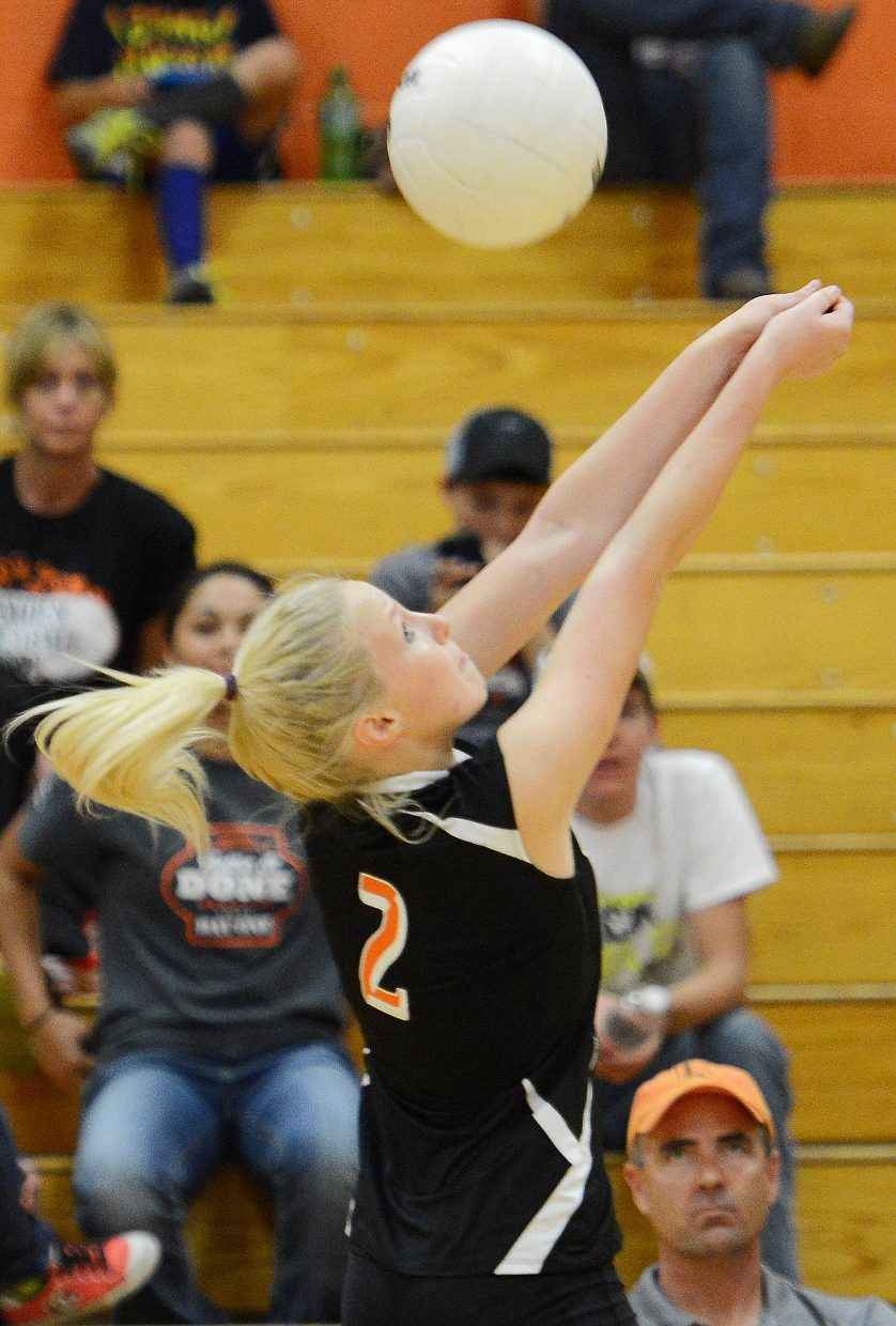 Hayden's Kenzie Fry saves a ball Tuesday against Vail Mountain.