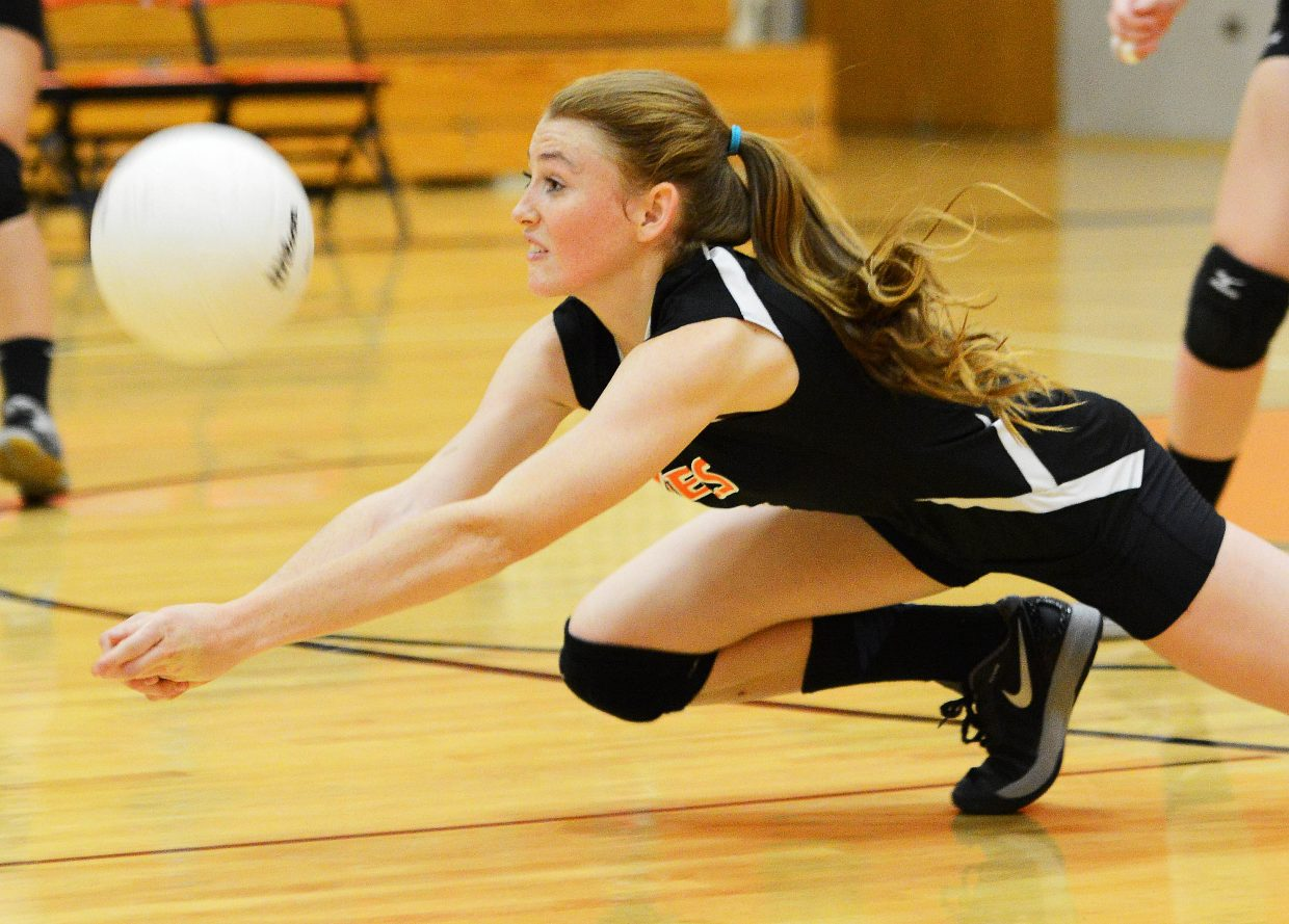 Hayden's Darian Murphy dives for a dig Tuesday against Vail Mountain.