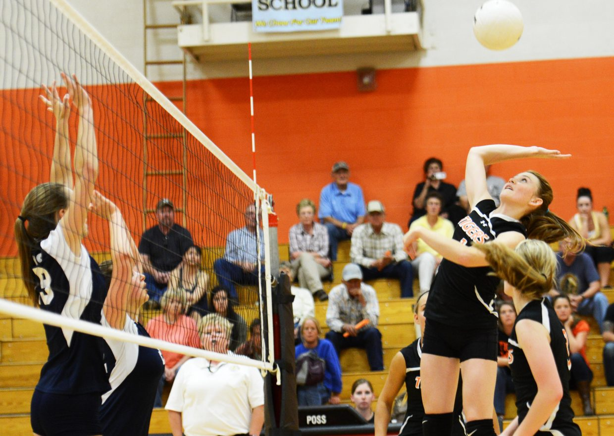 Darian Murphy rises up for a hit Tuesday against Vail Mountain.