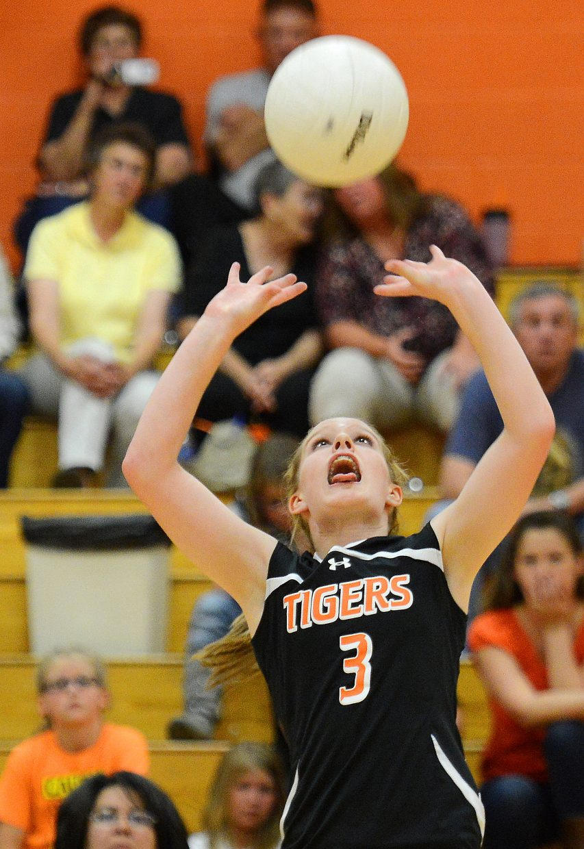Hayden's Grace Wilkie sets the ball Tuesday against Vail Mountain.