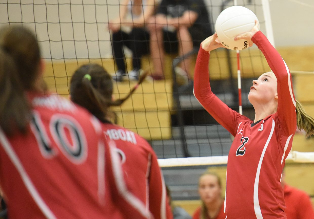 Steamboat setter Raya Duryea passes the ball back toward her hitters Saturday as the Sailors beat up on Glenwood Springs in three sets.