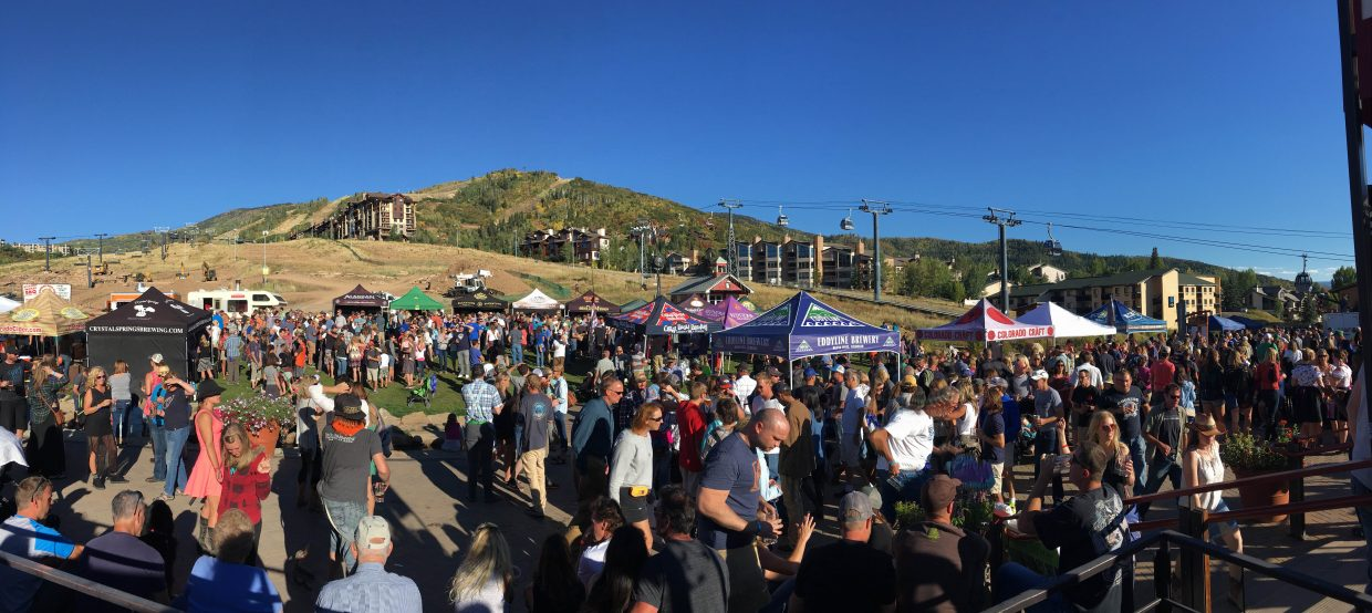 Participants gather at Steamboat Ski Area for Octoberwest on Saturday.